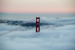 San Francisco Golden Gate Bridge in fog Royalty Free Stock Photography