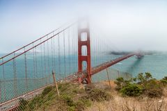 San Francisco Golden Gate Bridge on a foggy day, view from Sausa. Lito Royalty Free Stock Photo
