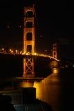 San Francisco - Golden gate bridge fortpunkt på natten Fotografering för Bildbyråer