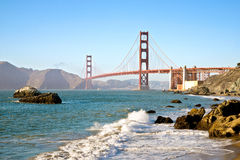 San Francisco Golden Gate Bridge från bagaren Beach Royaltyfria Bilder