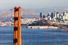 San Francisco with the Golden Gate bridge Stock Images