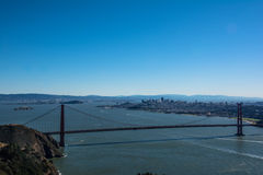 San Francisco and the Golden Gate Bridge from Marin Headlands Royalty Free Stock Photo