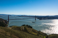 San Francisco and the Golden Gate Bridge from Marin Headlands Stock Photos