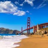 San Francisco Golden Gate Bridge Marshall beach California. San Francisco Golden Gate Bridge GGB from Marshall beach in California USA Royalty Free Stock Images