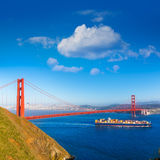 San Francisco Golden Gate Bridge merchant ship in California Royalty Free Stock Photography