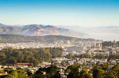 San Francisco with Golden Gate Bridge in the morning soft light Royalty Free Stock Photography