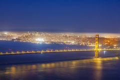 San Francisco Golden Gate bridge by night Royalty Free Stock Images
