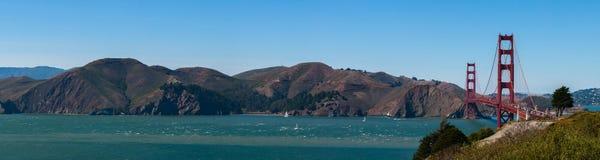 San Francisco Golden Gate Bridge Panorama Fotografering för Bildbyråer