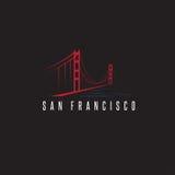 San Francisco Golden gate bridge projekta wektorowy szablon Fotografia Royalty Free