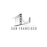 San Francisco Golden gate bridge projekta wektorowy szablon Fotografia Stock