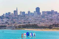 San Francisco from Golden Gate Bridge sailing regatta Royalty Free Stock Photography