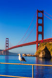 San Francisco Golden Gate Bridge seagull California Stock Photo