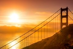 San Francisco golden gate bridge at sunrise Royalty Free Stock Photo