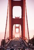 San Francisco Golden Gate bridge traffic on foggy day dramatic e. SEP 26, 2009 San Francisco, USA - Traffic on San Francisco Golden Gate bridge on foggy day stock images
