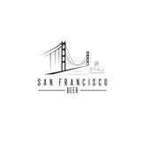 San Francisco Golden gate bridge z piwnymi butelkami Zdjęcie Royalty Free