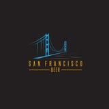 San Francisco Golden gate bridge z piwnymi butelkami wektorowymi Obraz Royalty Free