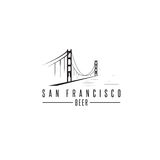 San Francisco Golden gate bridge z piwnymi butelkami wektorowymi Obrazy Royalty Free