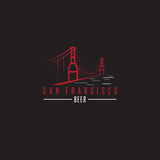 San Francisco Golden gate bridge z piwnymi butelkami wektorowymi Zdjęcia Royalty Free