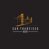 San Francisco Golden gate bridge z piwnymi butelkami wektorowymi Zdjęcie Stock