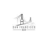 San Francisco Golden gate bridge z piwnymi butelkami wektorowymi Zdjęcia Stock