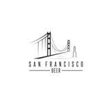San Francisco Golden gate bridge z piwnymi butelkami wektorowymi Obrazy Stock