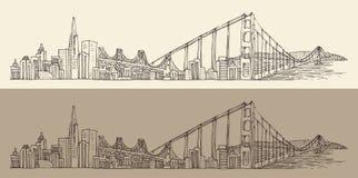 San Francisco, grote stadsarchitectuur, wijnoogst graveerde illustratie, getrokken hand, schets, Stock Fotografie