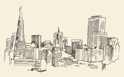 San Francisco, grote stadsarchitectuur, wijnoogst graveerde illustratie, getrokken hand, schets, Stock Foto