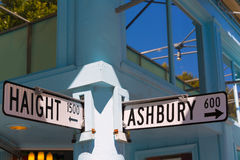 San Francisco Haight Ashbury street sign junction California. San Francisco Haight Ashbury street sign junction corner in California USA stock image
