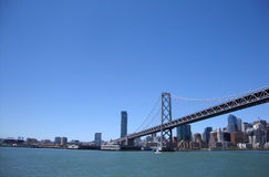 San Francisco half of the Bay Bridge from water royalty free stock images