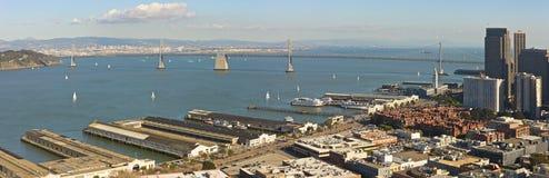 San Francisco harbor panorama. Panorama shot of the San Francisco harbor with Bay Bridge and Alcatraz Royalty Free Stock Photo
