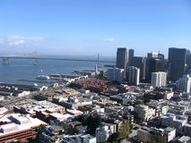 San Francisco Harbour. As seen from the twin peaks with the Oakland Bridge Royalty Free Stock Photography