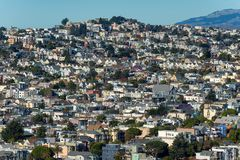 San Francisco hillside homes -- Dolores Heights, Cole Valley & Corona Heights. Thousands of homes line the hills of San Francisco as seen looking northwest from stock photography
