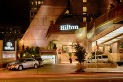 San Francisco Hilton Financial District Entrance at Night Royalty Free Stock Photos