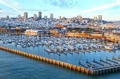 San Francisco. Historic Pier 39 marina, City in the background. California, USA. San Francisco Bay Area. Historic Pier 39 marina, City in the background royalty free stock image