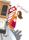 San Francisco Holiday. Young woman riding a cable car in San Francisco royalty free illustration
