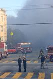 San Francisco - houses on fire. SAN FRANCISCO, CA - DECEMBER 22: Large fire of three apartment buildings in Western Addition district December 22, 2011 in San Stock Photos