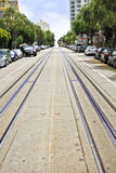 San Francisco Hyde Street Cable Car Line Tracks. The rails and cable line for the iconic, famous Powell & Hyde Cable Cars heading up Hyde Street towards Lombard Royalty Free Stock Photos
