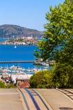 San Francisco Hyde Street en Alcatraz-eiland royalty-vrije stock afbeeldingen
