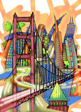 San Francisco Illustration. Abstract combination of city landmarks. Colorful illustration Royalty Free Stock Image