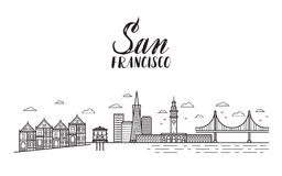 San Francisco illustration with modern lettering, city buildings Stock Photography