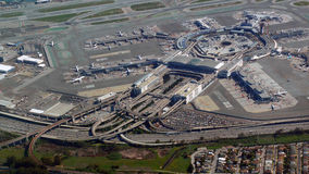 San Francisco International  Airport from the air. San Francisco International Airport aerial photo with the highway maze entering and exiting, and planes like Stock Image