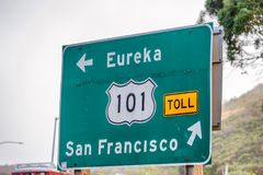 San Francisco interstate directions and road sign stock photo