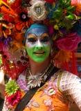 SAN FRANCISCO - JUNI 28: De mens met kleurrijk geschilderd gezicht neemt aan SF Vrolijk Pride Parade, 28 Juni, 2015 deel Stock Foto's