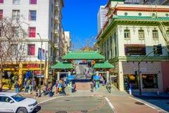 San Francisco, Kalifornien - 11. Februar 2017: China-Stadt in San Francisco, ein populärer kultureller Standort im touristischen Lizenzfreie Stockbilder
