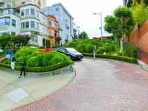 San Francisco Kalifornien, USA - Maj 04, 2016: Sikt av Lombardgatan Royaltyfria Foton