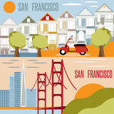 San Francisco landmarks horizontal flat design vector Stock Photo