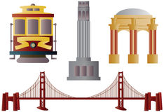 San Francisco Landmarks Illustration. San Francisco Golden Gate Bridge Trolley Coit Tower and Palace of Fine Arts Illustration Stock Images