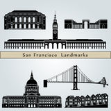 San Francisco landmarks and monuments. On blue background in editable vector file Stock Photos