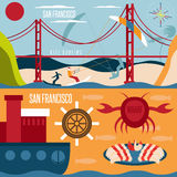 San Francisco landmarks , seafood and kite surfing horizontal Stock Image
