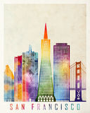 San Francisco landmarks watercolor Stock Photography